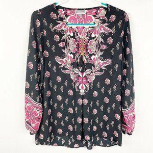 JM Collection Blouse Size M/Medium Black/Pink